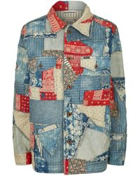 08d77d6c091 Lyst - Polo Ralph Lauren Cropped Patchwork Trucker Denim Jacket in Blue
