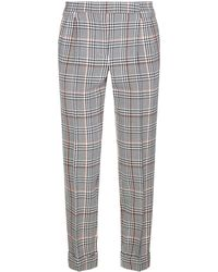 Amanda Wakeley - Houndstooth Check Wool Trousers - Lyst