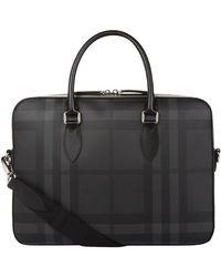 Burberry - Slim Smoke Check Briefcase - Lyst