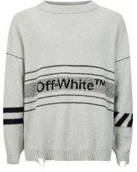 Off-White c/o Virgil Abloh - Distressed Logo-intarsia Cotton-blend Sweater - Lyst