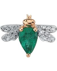 Bee Goddess - Rose Gold And Emerald Queen Bee Earring - Lyst