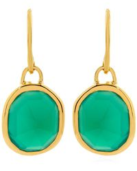 Monica Vinader - Green Onyx Siren Wire Earrings - Lyst
