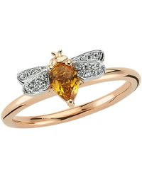 Bee Goddess - Rose Gold Diamond And Citrine Queen Bee Ring - Lyst