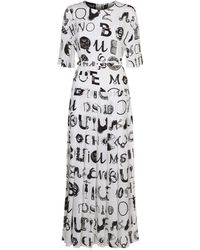 Boutique Moschino - Abstract Logo Belted Dress - Lyst