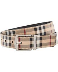 Burberry - Leather Haymarket Check Belt - Lyst