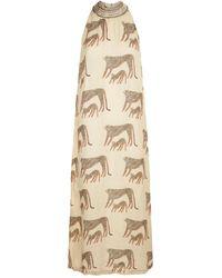 120% Lino - Cheetah Print Maxi Dress - Lyst
