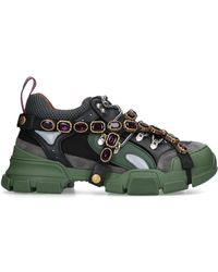 Gucci - Flashtrek Embellished Suede, Leather And Mesh Sneakers - Lyst
