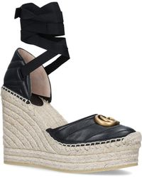 a71bf551f Gucci Embroidered Metallic Leather Platform Espadrilles in Metallic ...