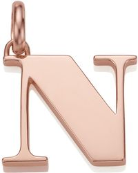 Monica Vinader - Rose Gold Capital N Pendant, Pink - Lyst