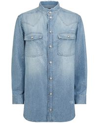 20bfd0a2 Balmain Leather Collar Flannel Shirt in Gray - Lyst