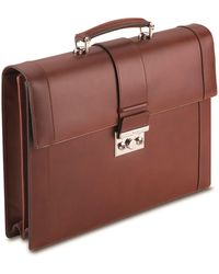 Pineider - Double Compartment Leather Briefcase - Lyst