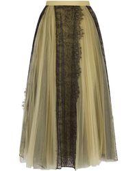 Burberry - Pleated Lace Midi Skirt - Lyst