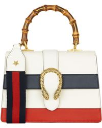 Gucci - Medium Stripe Dionysus Bamboo Top Handle Bag - Lyst