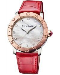 BVLGARI - Rose Gold, Mother-of-pearl And Diamond Bulgari Bulgari Lady Watch 37mm - Lyst