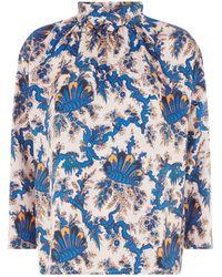 Sandro - Printed Silk Blouse - Lyst