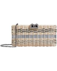 Rodo - Metallic Stripe Wicker Clutch - Lyst
