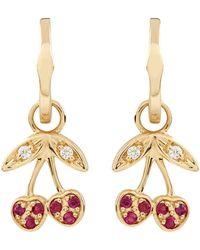 Sydney Evan - Yellow Gold Ruby Cherry Hoop Earrings - Lyst