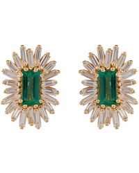Suzanne Kalan - Yellow Gold, Diamond And Emerald One Of A Kind Earring - Lyst
