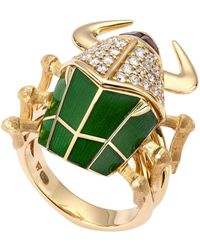 Stephen Webster - Yellow Gold And Diamond Jitterbug Toro Beetle Enamel Ring - Lyst