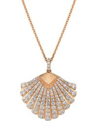 Bee Goddess - Rose Gold And White Diamond Oyster Necklace - Lyst