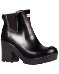 HUNTER - Original Chelsea Heeled Gloss Boots - Lyst