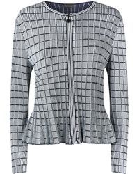 St. John - Knitted Stripe Zipped Cardigan - Lyst