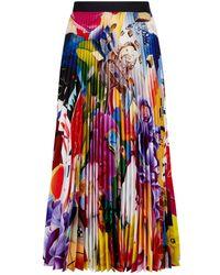 b3c6dea3f7 Mary Katrantzou Satin-trimmed Pleated Printed Chiffon Skirt in Green ...