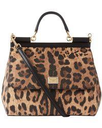 Dolce & Gabbana - Large Leather Leopard Spot Sicily Bag - Lyst