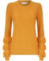 MICHAEL Michael Kors - Fringed Sleeve Sweater - Lyst