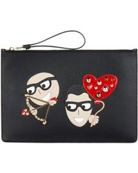 Dolce & Gabbana - Leather Dg Family Pouch - Lyst