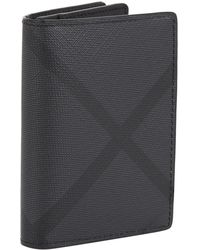 Burberry - London Check And Leather Folding Card Case - Lyst