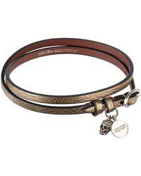 Alexander McQueen - Metallic Leather Wrap Bracelet - Lyst