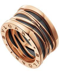 BVLGARI - Rose Gold And Ceramic B.zero1 Design Legend Ring - Lyst