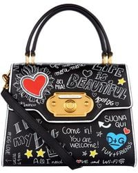 Dolce & Gabbana - Leather Welcome Printed Top Handle Bag - Lyst