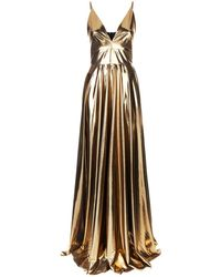 La Mania - Gold Cami Gown - Lyst