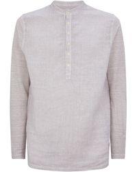120% Lino - Mandarin Collar Henley Shirt - Lyst