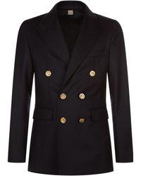 Burberry | Tailored Wool Jacket, Navy, Eu 54 | Lyst