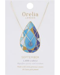 Orelia - September Birthstone Necklace - Lyst