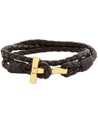 Tom Ford - Leather Braided Wrap T Bracelet - Lyst