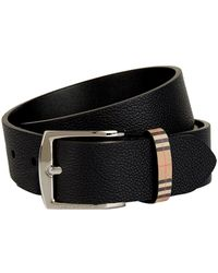 Burberry - Leather Check Belt - Lyst