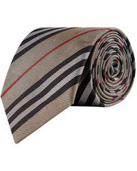 Burberry Silk Stripe Tie - Natural