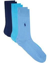 Ralph Lauren - Ribbed Crew Socks (pack Of 3), Blue, Eu 39-41 - Lyst