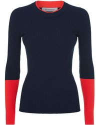 Sportmax - Block Colour Ribbed Sweater - Lyst
