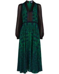 Amanda Wakeley - Paisley V-neck Midi Dress - Lyst