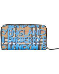 Burberry - Graffiti Zip Around Wallet - Lyst