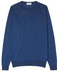 John Smedley - Lundy Dark Blue Merino Wool Jumper - Lyst
