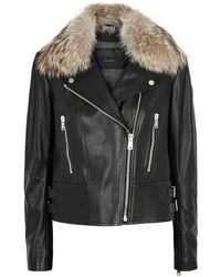 Belstaff - Marvington Fur-trimmed Leather Biker Jacket - Lyst