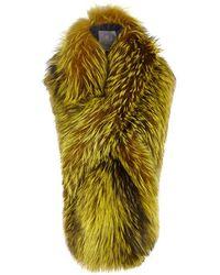 Lilly E Violetta - Arabella Yellow Fox Fur Scarf - Lyst