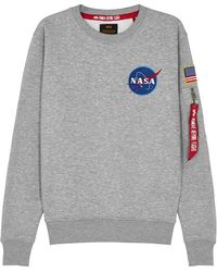 Alpha Industries - Space Shuttle Grey Cotton-blend Sweatshirt - Lyst