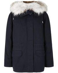 Yves Salomon - Navy Fur-lined Cotton-twill Parka - Lyst
